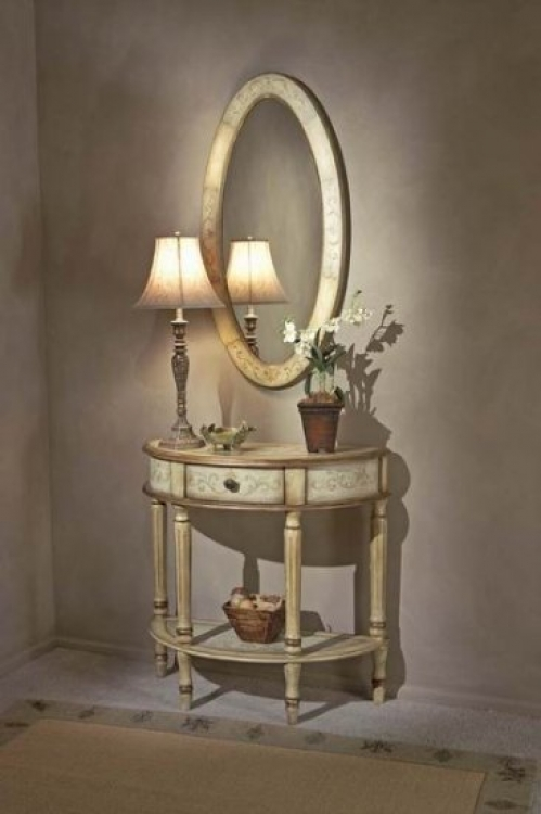 0667041 Tuscan Cream Hand Painted Demilune Console Table - Butler