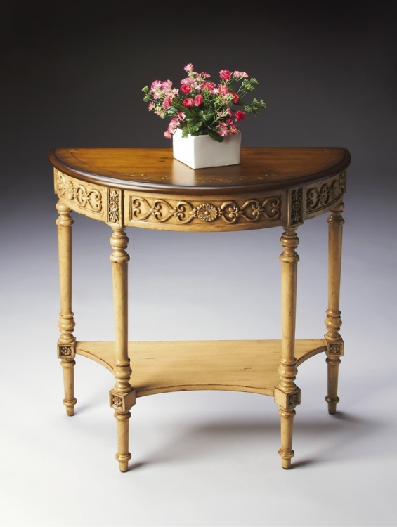 7027166 Pine n' Cream Demilune Console Table - Butler