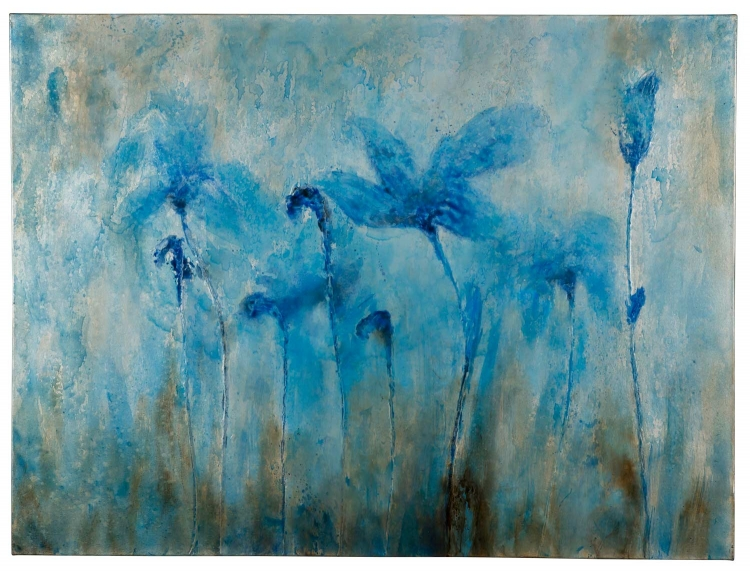 40809 Flowers - Blue Canvas Painting