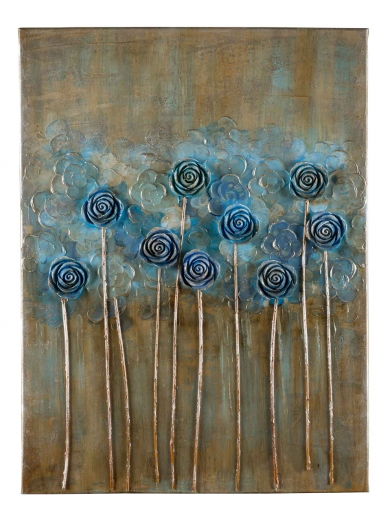 40812 Blossoms - Blue Canvas Painting
