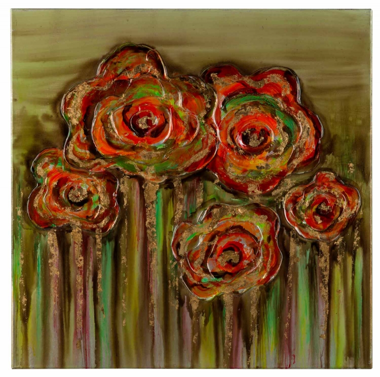 Abstract Poppies Canvas Painting