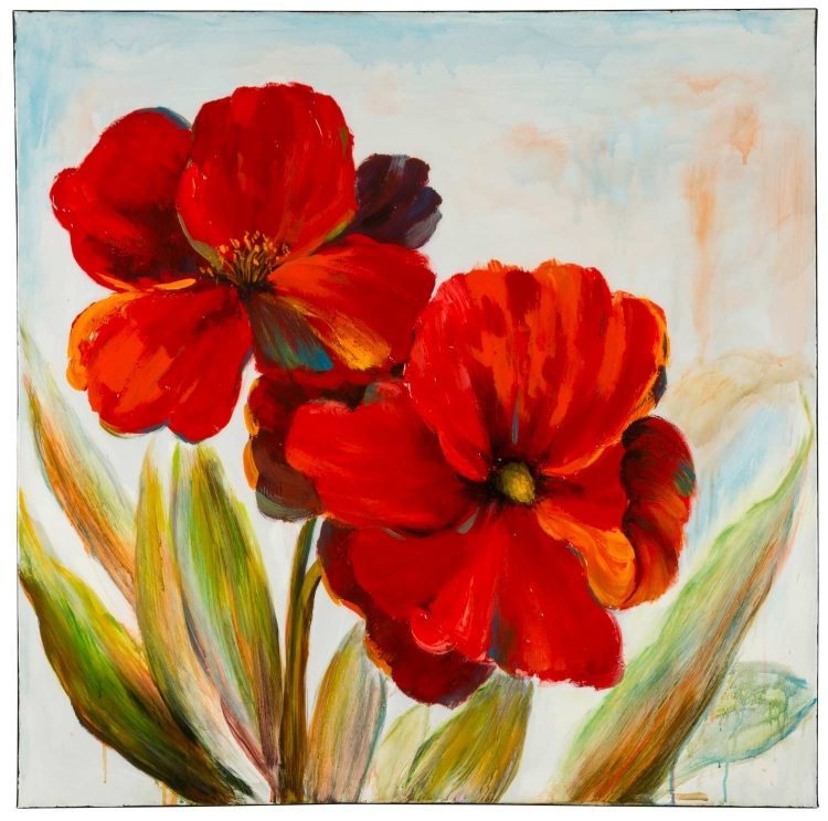 40814 Flowers - Red Canvas Painting