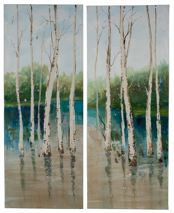 40819 Forest in the Water - Set of 2 Canvas Painting