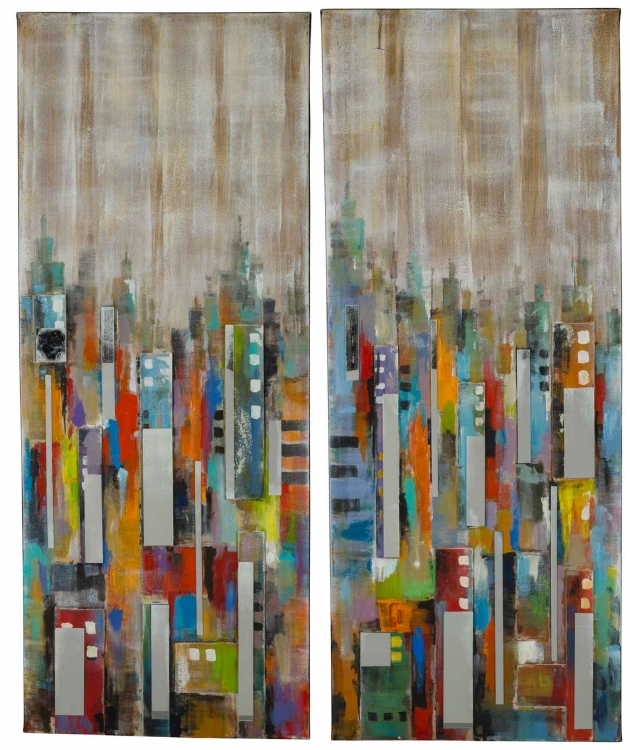 City Reflections - Set of 2 Canvas Painting