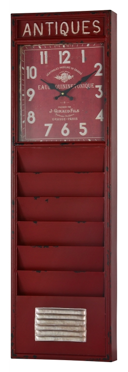 Wilmette Clock - Distressed Red