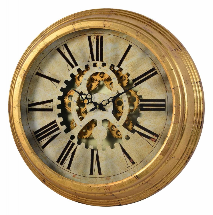 Dabney Gear Clock - Antiqued Gold
