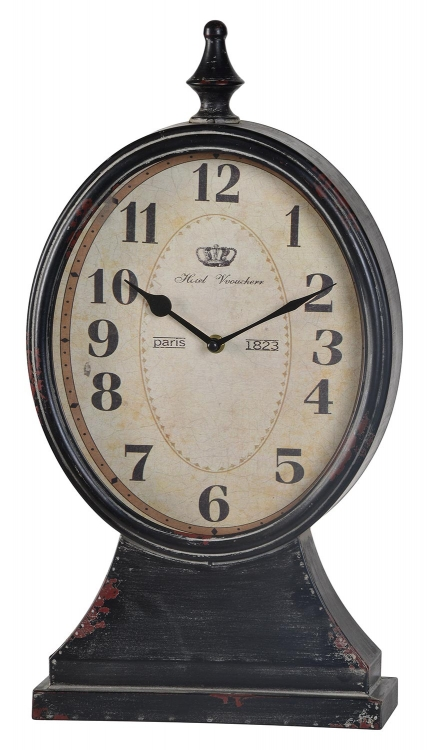 Leona Clock - Distressed Black