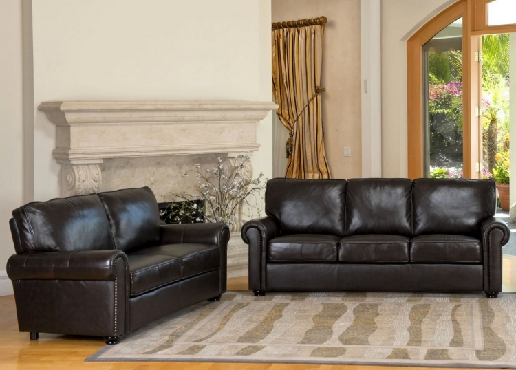 London Top Grain Leather Sofa and Love Seat Set