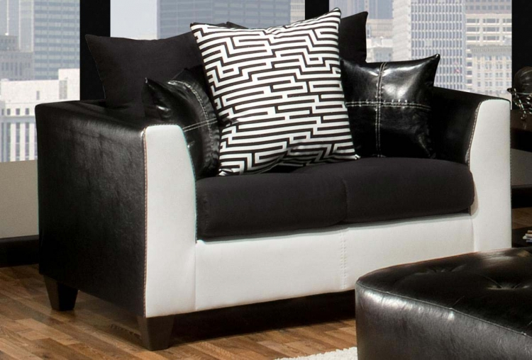 Carl Loveseat - Royal White/El Paso Black/Sierra Black - Chelsea