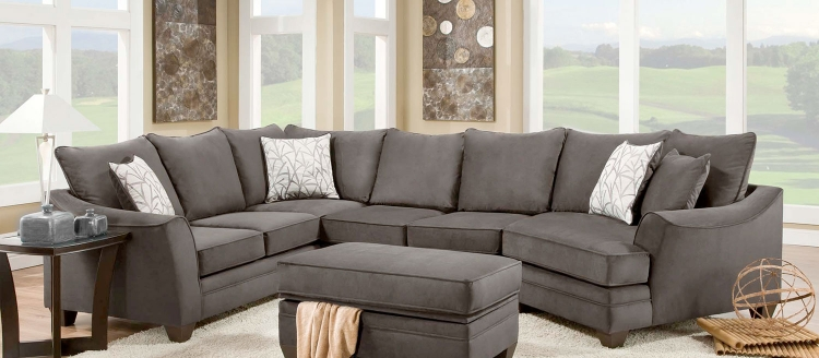 Cupertino 3 pc Sectional Sofa Set - Flannel Seal