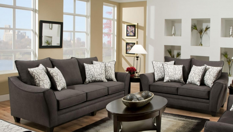 Cupertino Sofa Set - Flannel Seal