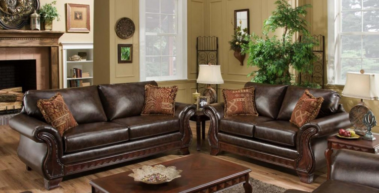 Jefferson Sofa Set - New Era PU Walnut