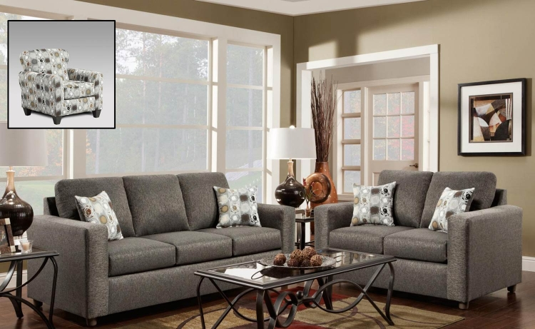 Talbot Sofa Set - Vivid Onyx/Paintball Granite
