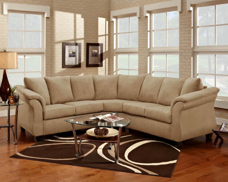 Michelle 2 Piece Sectional Sofa - Flatsuede Buff - Chelsea
