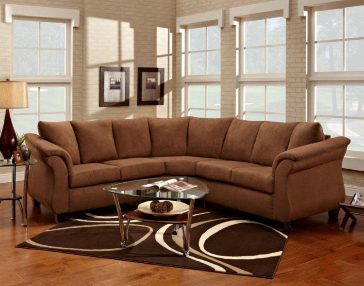Michelle 2 Piece Sectional Sofa - Flatsuede Chocolate - Chelsea
