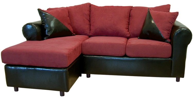 Tim 2 Piece Sectional Sofa - Bulldozer Burgundy/Bicast Black