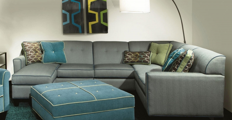 Tiffany 3 Piece Sectional Sofa w/Chaise Ottoman - Milan Pool