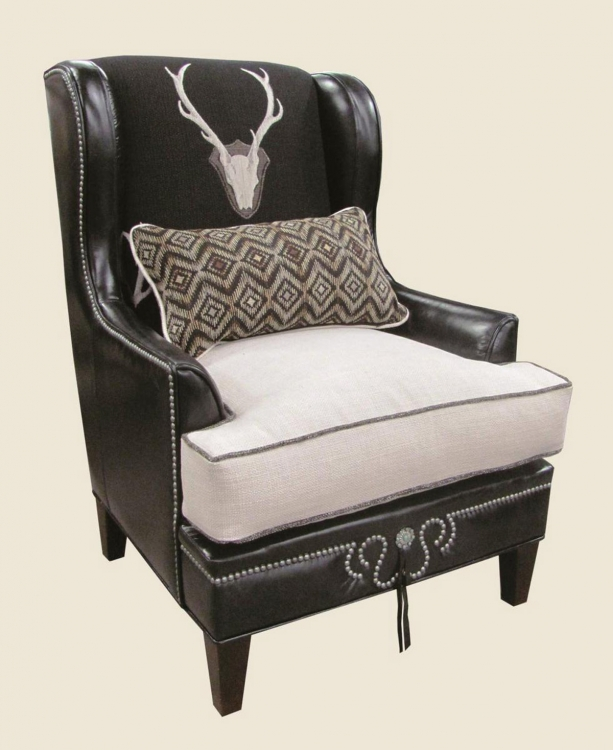 Logan Wing Chair - Uncle Buck Onyx/Lindy Natural