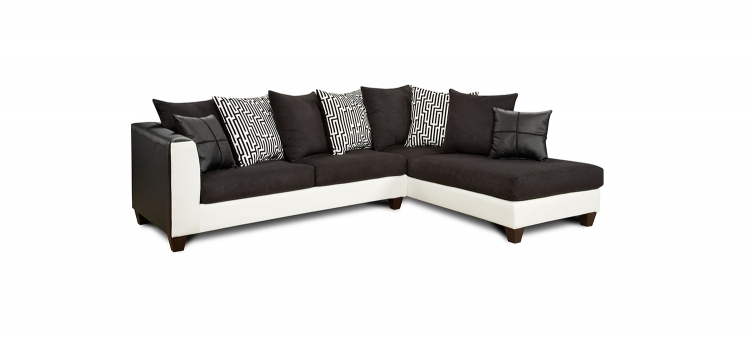 Bates Sectional Sofa - Brown/White