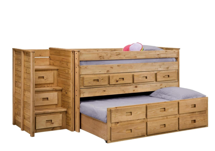 31103-1550 Twin Loft Bed with Staircase - Ginger Stain