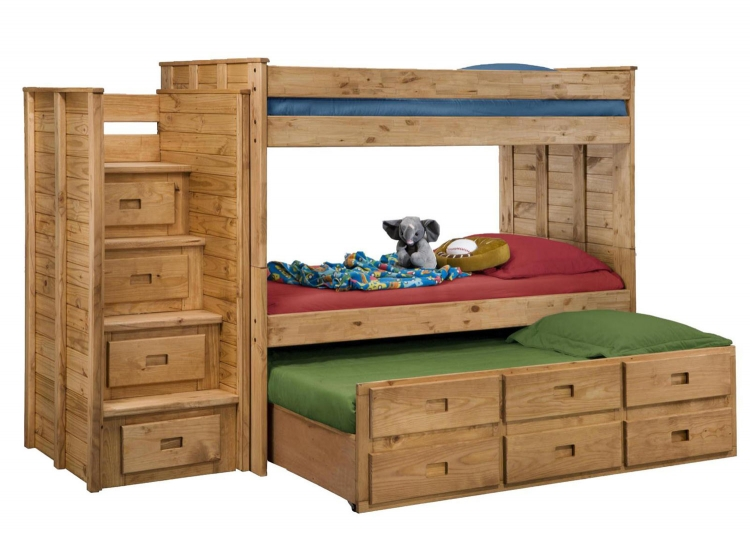 31104-1650 Twin Over Twin Bunk Bed with Staircase - Ginger Stain