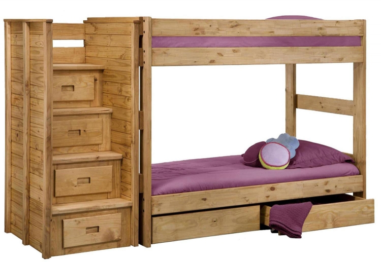 31104-2001-211-S Twin Over Twin Storage Bunk Bed with Staircase - Ginger Stain