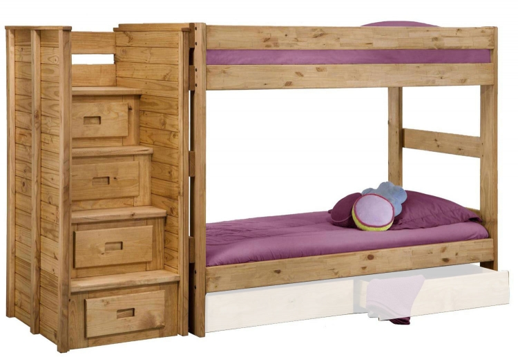 31104-2001-211 Twin Over Twin Bunk Bed with Staircase - Ginger Stain