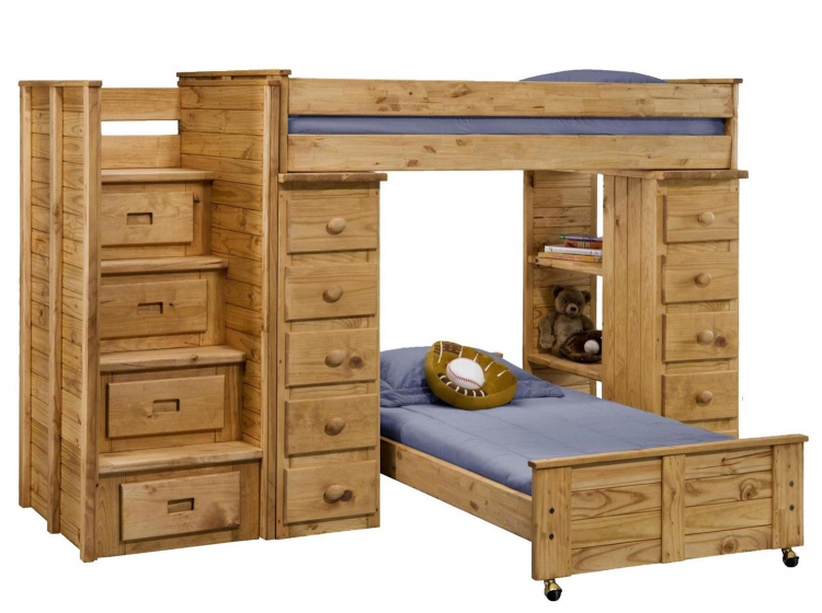 31104-5000 Twin Over Twin Loft Bed with Staircase - Ginger Stain