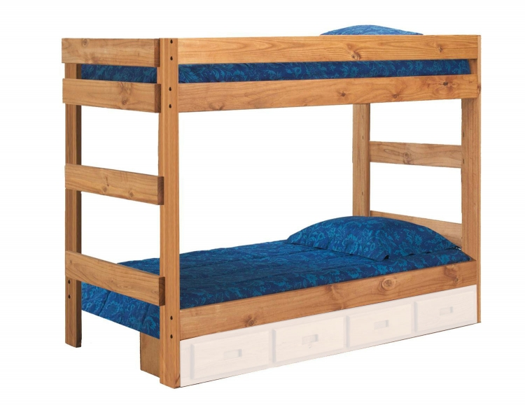312001-411 Twin Over Twin One Piece Bunk Bed - Ginger Stain
