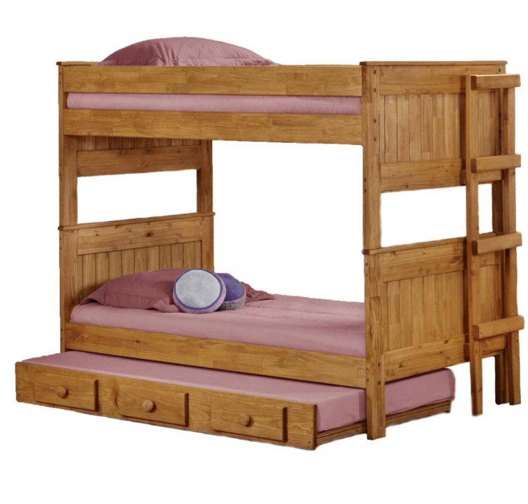 312003-450-T Twin Over Twin Stackable Bunk Bed with Trundle - Ginger Stain