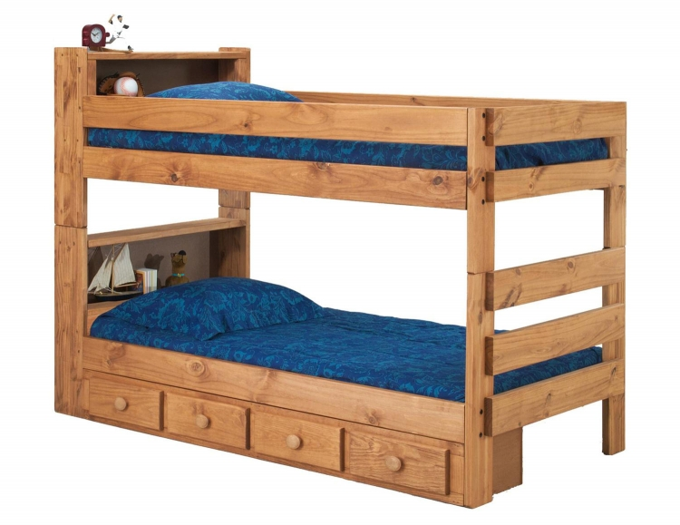 312004-415-S Twin Over Twin Bookcase Bunk Bed with Storage - Ginger Stain