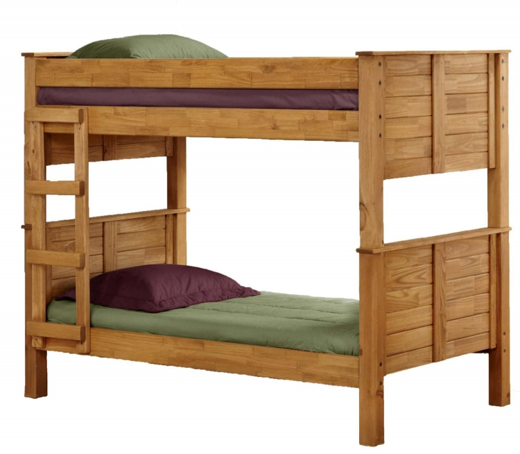 312008 Twin Over Twin Post Bunk Bed - Ginger Stain