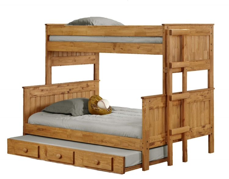 312009-450-T Twin Over Full Stackable Bunk Bed with Trundle - Ginger Stain