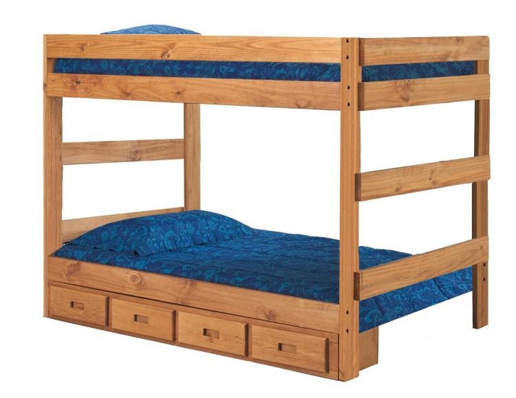 312010-411-S Full Over Full One Piece Bunk Bed with Storage - Ginger Stain