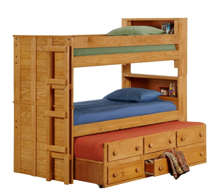 312055 Twin Bookcase Bunk Bed with Twin Trundle Unit - Ginger Stain