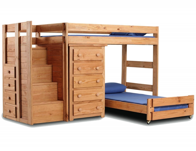 31234 Twin Over Twin Staircase Quarters Bed with 5 Drawer Chest - Ginger Stain