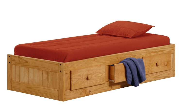 31335 Twin Box Bed with 3 Drawers - Ginger Stain
