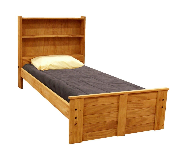 31340 Twin Bed with Bookcase Headboard - Ginger Stain