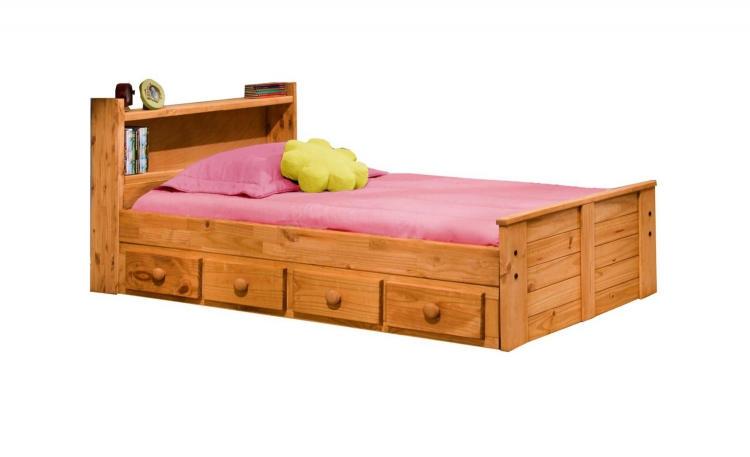 31345-415 Twin Bed with Bookcase Headboard and Storage - Ginger Stain