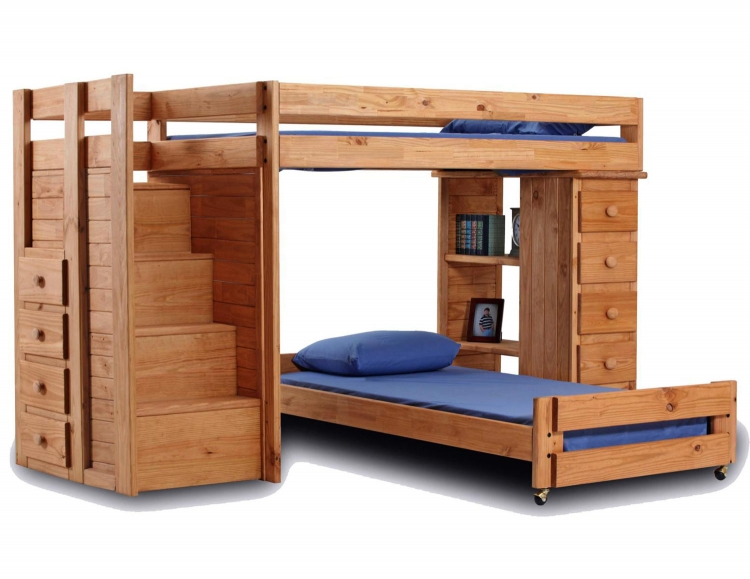 31345 Twin Over Twin Staircase Bunk Bed with 5 Drawer Lingerie Chest - Ginger Stain