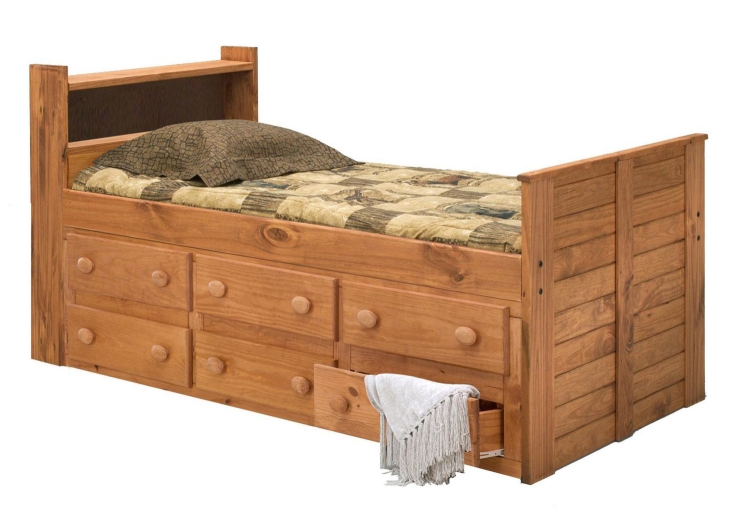 31346 Twin Bookcase Captain Bed with 6 Drawers - Ginger Stain