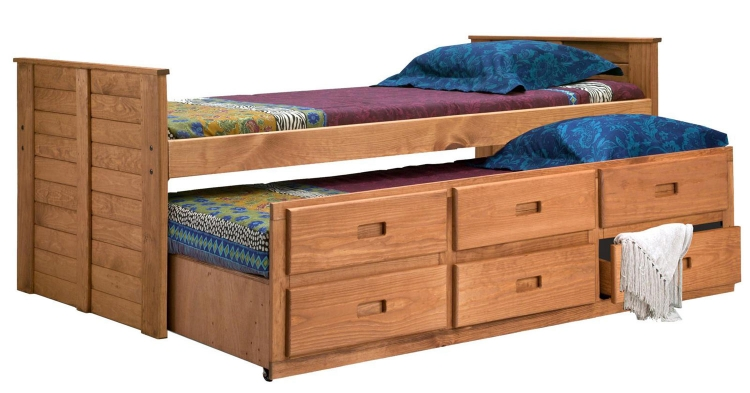 31375 Twin Captain Bed with Twin Trundle Unit - Ginger Stain