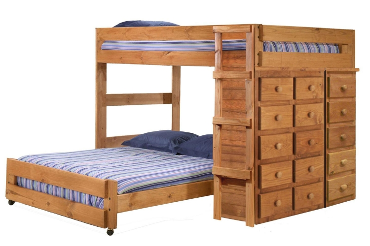 315010 Full Over Full Loft Bed with 5 and 10 Drawer Chests - Ginger Stain