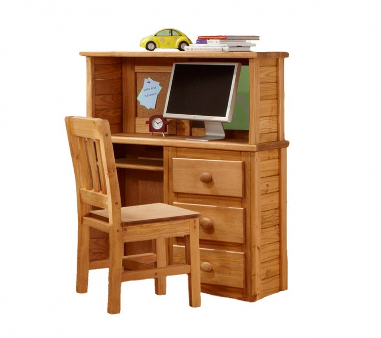 31502-H Computer Desk with Desk Top Hutch - Ginger Stain