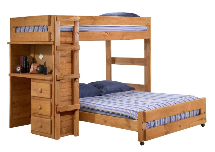 315020 Twin Over Full Loft Bed with Desk End - Ginger Stain