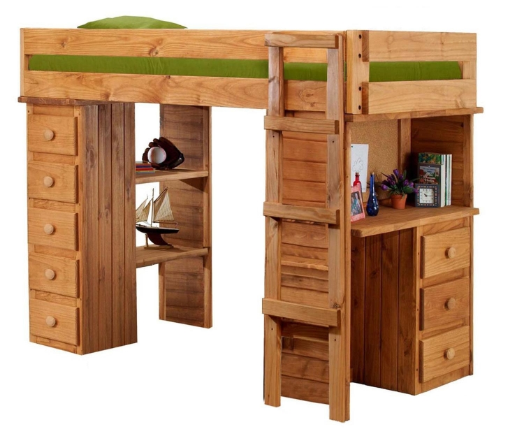 315025 Twin Student Loft Bed with Desk and Chest Ends - Ginger Stain