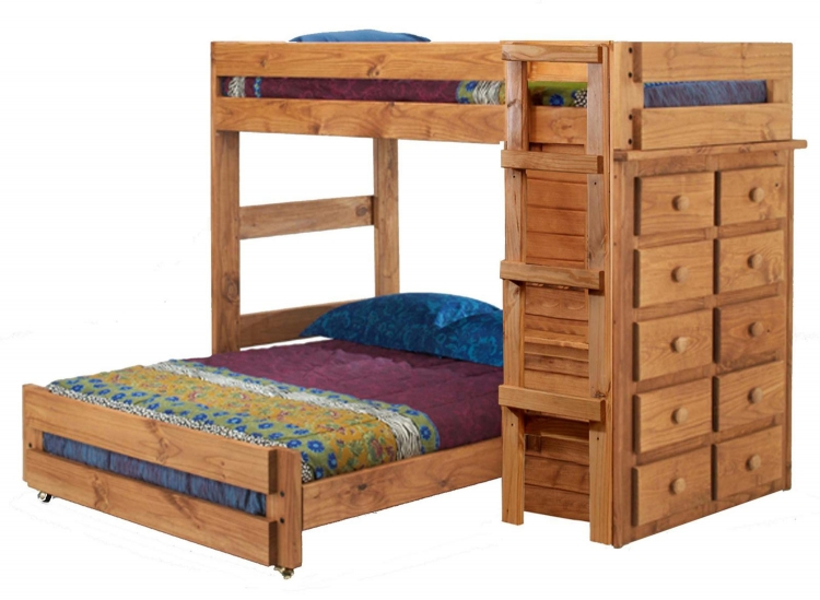 315030 Twin Over Full Loft Bed with 10 Drawer Chest - Ginger Stain