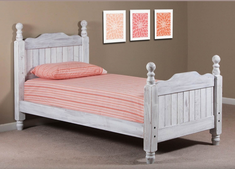 Twin Cannonball Panel Post Bed - White Distressed