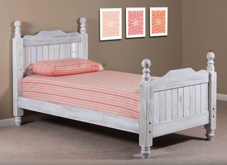 Full Cannonball Panel Post Bed - White Distressed