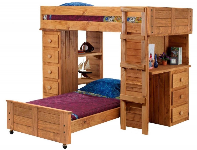 315040 Twin Over Twin Student Loft Bed with Panel HB/FB and Desk and Chest Ends - Ginger Stain